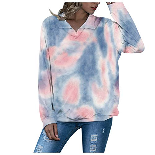 WYZTLNMA Women Fashion Sweatshirt Casual Long Sleeve Tie-dye Round Collar Sweatshirts Tops Autumn Winter Casual Streetwear Blue