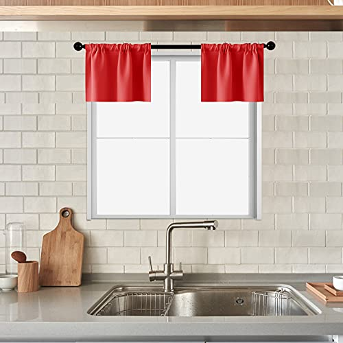 MRTREES Christmas Xmas Holiday Kitchen Curtains Valances Red 34 x 18 inch Length Cafe Curtains Room Darkening Bathroom Small Curtain Tiers Short Window Treatment Set 2 Panels Pole Top