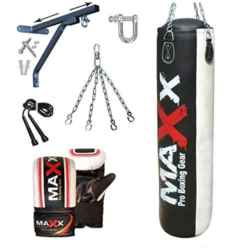 5pcs Punch bag set 5ft Blk/White Rex Leather boxing punchbag wall Bracket & Gloves