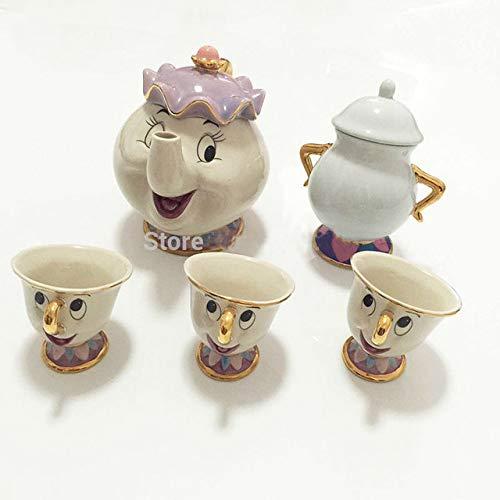 LJQLXJ Juego de té Nueva taza de tetera de la Bella y la Bestia de dibujos animados, taza de tetera con chip de la señora Potts, 2 uds, un juego, bonito regalo encantador, gris oscuro