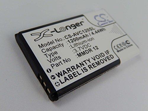 vhbw Li-Ion Akku 1200mAh (3.7V) für Handy Smartphone Telefon Avus C12, C22, Piano, S62, V2 wie MMDR 12.