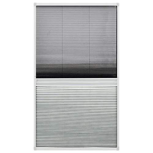 vidaXL Insektenschutz Plissee für Fenster Fliegengitter Dachfenster Mückenschutz Sonnenschutz Sichtschutz Aluminium 60x160cm mit Jalousie
