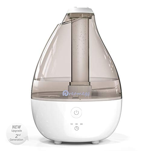Cool Mist Humidifier - Humidifiers for Baby Bedroom, Quiet Ultrasonic Humidifier with High Low Mist, Timer, Night Light, Filter-Free, Last 12-30 Hours, Room Humidifier for Home Office,2L/0.5 Gallon