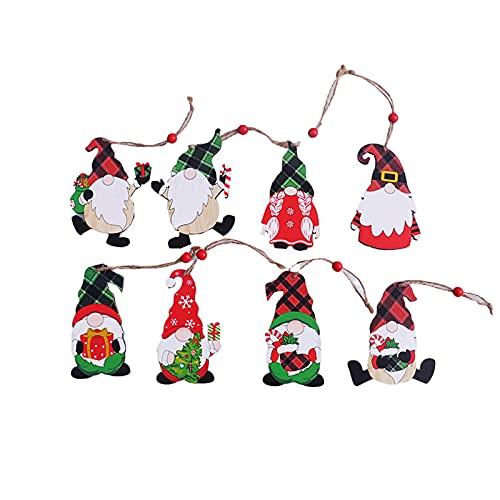 decorazioni natalizie famiglia 8 Pcs Ciondolo Albero di Natale in Legno