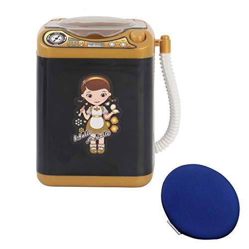 Dinglong Maquillage Brosse Nettoyeur Dispositif (Puff Giveaway) Automatique Nettoyage Machine à Laver Mini Jouet Et Puff (Noir)