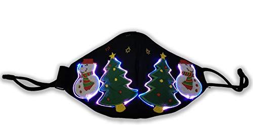True Statements Weihnachts-Maske - Mund-Nasen-Maske mit Weihnachtsmotiv und LED-Beleuchtung - Der Hingucker