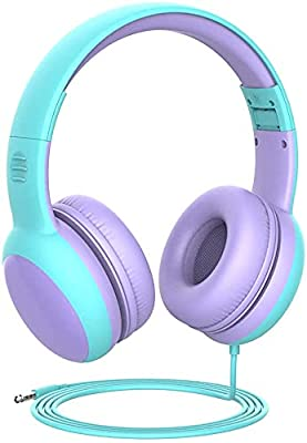 gorsun Kids Headphones with limited volume, Children Headphone with decorative ears Ear, kids headphones for boys and girls, Wired Headset for children-Purple by Gorsun
