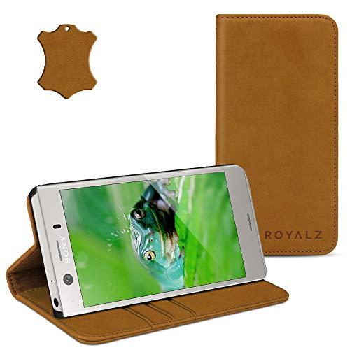 ROYALZ Tasche für Sony Xperia XZ1 Compact Ledertasche Lederhülle Hülle Book Cover Hülle Schutzhülle Schutztasche mit unsichtbarem Magnet Standfunktion Kartenfach Vintage Leder, Farbe:Camel Braun