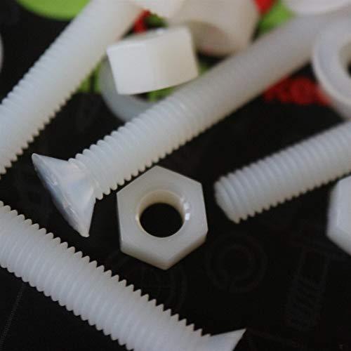 50 x Nylon Senkschrauben, Maschinenschrauben, M6 x 40mm, Kunststoffschrauben, Muttern & Unterlegscheiben