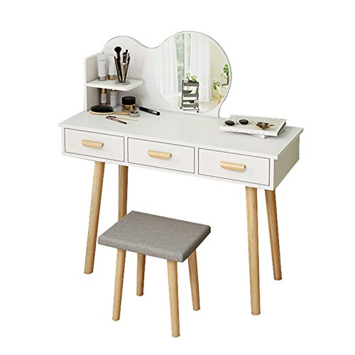 DXZ-Design Vanity Makeup Table Set Girls Dresser Desk with 2 Cosmetic Drawers Storage Shelves and Cushioned Stool, Mirror, White, 80/90 x 40 x 113 cm