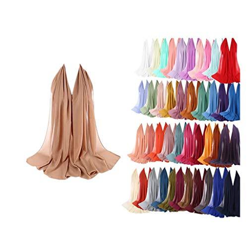 ZEELIY Frauen Plain Bubble Chiffon Schal Hijab Wrap Printe Schals Stirnband Muslim Hijabs