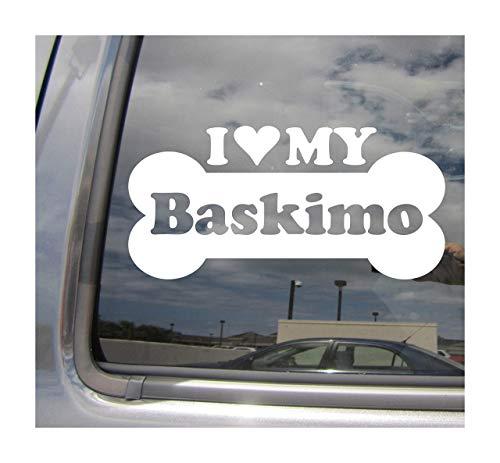 Lplpol I Heart Love My Baskimo Dog Bone American Esquimo Basset Hound Mix Hybrid Raza Coches Camiones Casco duro Casco Surfboard Auto Automóvil Craft Laptop Vinilo adhesivo de pared para ventana de tienda 6'