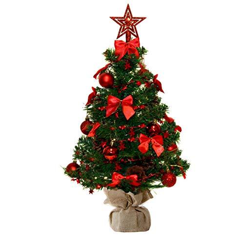 Baunsal GmbH & Co.KG Weihnachtsbaum Tannenbaum Christbaum künstlich 75 cm grün mit roter Dekoration inkl Lichterkette mit Micro LEDs und Fernbedienung