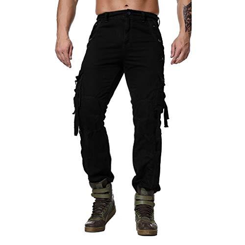 Makalon Sportbroek, heren, grote maat, elastische broek, voor heren, jeans, broek, heren, slim, zwart, L