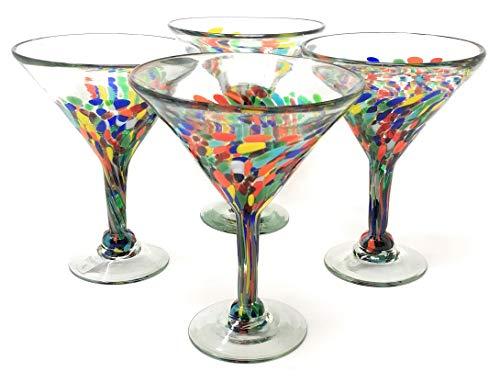 Mexican Hand Blown Glass – Set of 4 Hand Blown Modern Margarita Glasses - Confetti Carmen (12 oz)