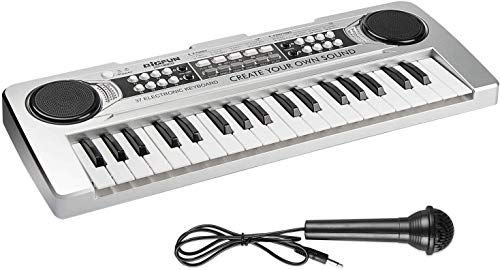 AIMEDYOU Piano Keyboard 37 Keys Kids Piano Portable Electronic Musical Instrument Multi-Function Music Keyboard Early Learning Educational Toy Birthday Xmas Day Gifts for Kids (Silver)