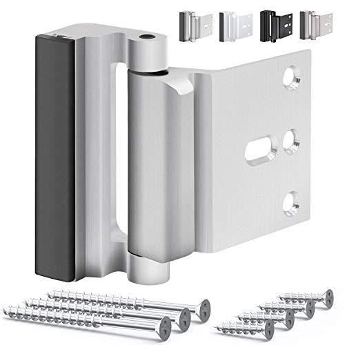 OYU Door Security Lock, Upgrade Home Security Door Lock & Reinforcement Lock with 3 inch Stop and 7 Screws, Door Lock Child Proof Security Door Stopper for Inward Swinging Door(Bright Sliver)