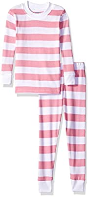 Sara's Prints Baby Girls Unisex Kids All Cotton Long John Pajamas, Pink/White Stripe, 12M