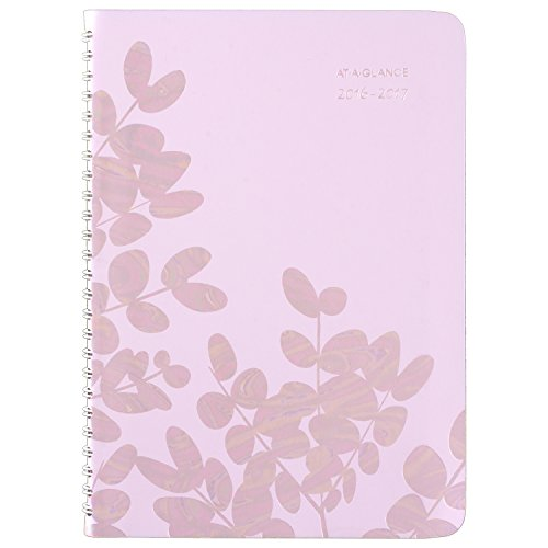 """AT-A-GLANCE Academic Year Weekly/Monthly Planner/Appointment Book, July 2016 - June 2017, 4-7/8""""x8"""", Aura Blooms (585-200A)"""