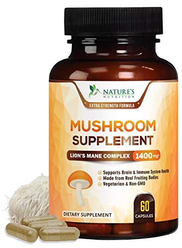 Mushroom Supplement with Lions Mane, Reishi, Chaga, Maitake - Daily Immune Support and Nootropic Brain Support Formula - Made in USA - Natural Energy and Focus - 60 Capsules