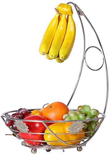 Good dress Tazones de Almacenamiento para el Hogar Gancho de Gancho de Plátano de Metal Estante de Uva Cesta Colgante Cesta de Exhibición Hueca Cesta de Frutas 28 * 45 cm Plato de Frutas