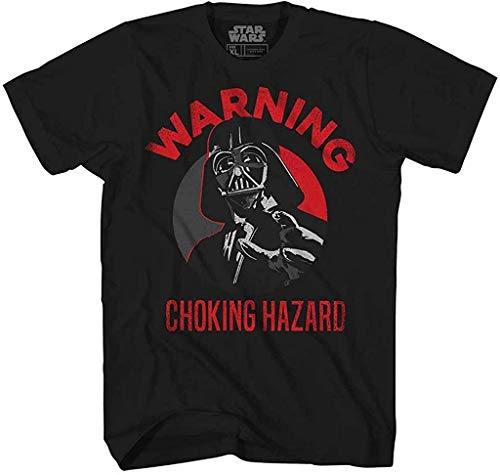 Star Wars Darth Vader Choking Hazard Empire Funny Humor Pun Mens Adult Graphic Tee T-Shirt Apparel (Black, Large)