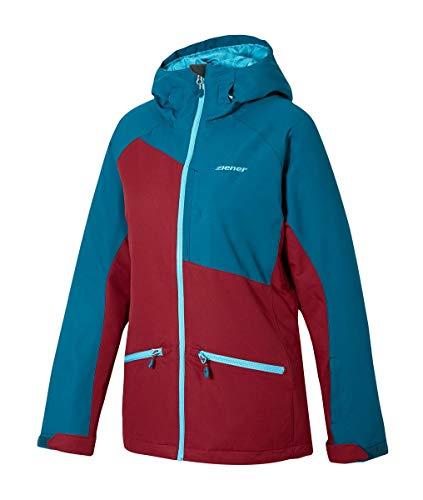 Ziener Tara Damen Skijacke Snowboardjacke 10.000mm AQUASHIELD+ 174121(252 Wine Pigment - Bordeaux, Petrol blau)