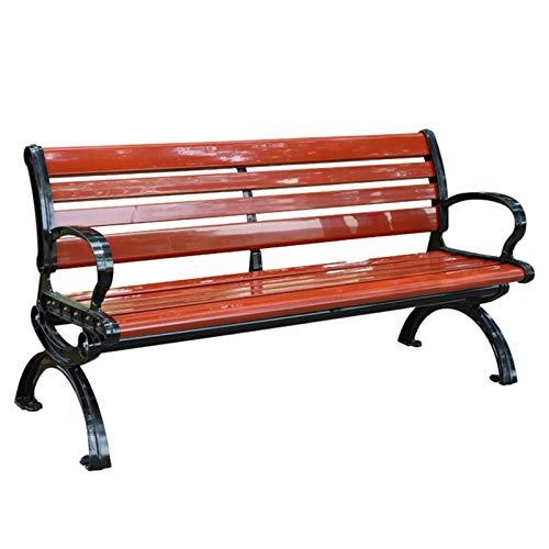 Guard Patio-Gartenbank Im Freien, 3-Sitzer Wetterfeste Parkbank Mit/Ohne Rückenlehne, Metallstahlrahmen Und Korrosionsschutz-WPC-Sitz