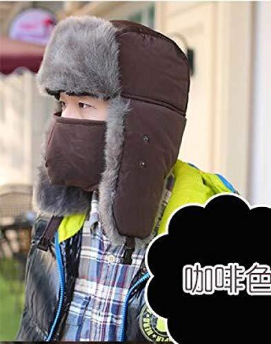 LIOOBO Winter Oor Masker Hoed, Russische Winter Caps Warm Winddicht Masker Oordopjes Bomber Aviator Trapper Lei Feng Dikke Koffie Fleece Bont Voor Mannen Vrouwen Volwassen Hoeden