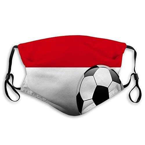 Face S hield Bandana Copricapo Sciarpa Bocca Scraf con 2 filtri Face CVoer Bocca Scraf Monaco Pallone da calcio con bandiera