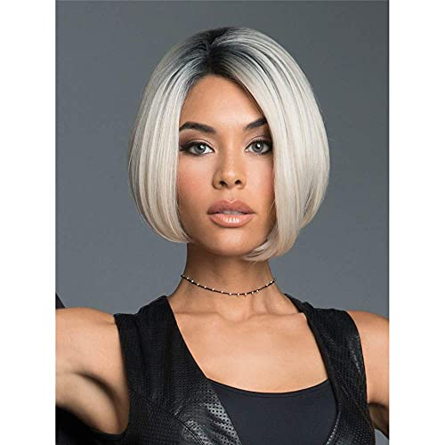 peluca Conjuntos pelucas para las mujeres Señoras europeas y americanas Set de pelucas de pelo corto recto, degradado parcial Negro Platinum Golden Chemical WIG MEJOR ELECCIÓN DE REGALO Conjunto de pe