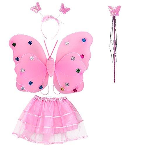 BESTOYARD - Disfraz de hada mariposa con alas de hada, varita mágica diadema y tutú falda...