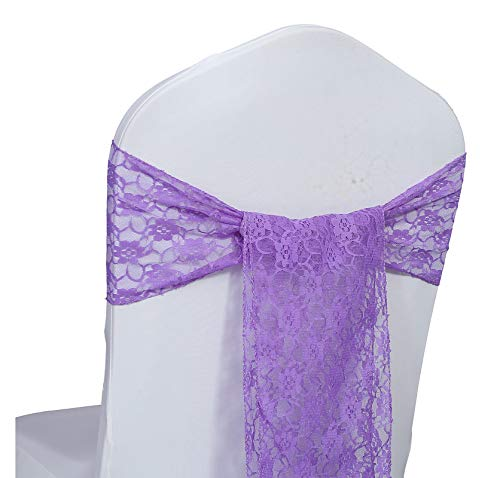 VDS Lace Chair Sashes Bow Chair Back Tie Ribbon for Wedding Banquet Reception Christmas Birthday Party Chair Decorations (Pack of 25) Lavender