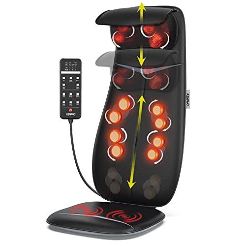 RENPHO Rückenmassagegerät, Shiatsu Massageauflage mit Wärmefunktion und Vibrationsfunktion, Höhenverstellbarer und S-förmiges Massagesitzauflage, Elektrisches Massagegerät für Nacken Rücken Gesäß