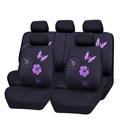 CAR PASS Flower and Butterfly Universal Car Seat Covers, Suvs,sedans,Vehicles,Airbag Compatible (11PCS, Black and Purple)