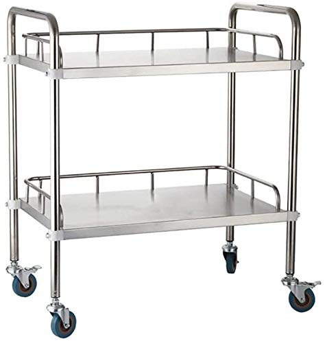 ZRABCD Trolley Service Cart Tool Salon Mobile Workbench,Band Armrest Casters Stainless Steel Multifunction Trolley,for Beauty Salon Barbershop Hotel Portable/A/L / 80 * 48 * 86