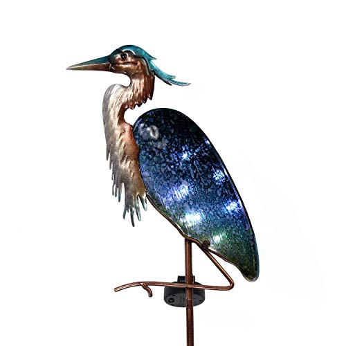 TERESA'S COLLECTIONS 42 inch Metal Heron Garden Decor Solar Lights, Decorative Heron Solar Lights with Colorful Glass Body for Outdoor Patio Yard Decorations
