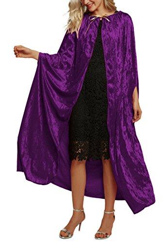 Urban CoCo Women's Costume Full Length Crushed Velvet Hooded Cape (series 2-Purple)