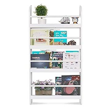 Homfa Kids Bookshelf 4-Tier Children's Bookcase Rack Wall Mountable Floating Display Storage Shelves Organizer Holder Stand for Books Toys in Study Living Room Bedroom 23.2L x 4.7W x 44.5H White