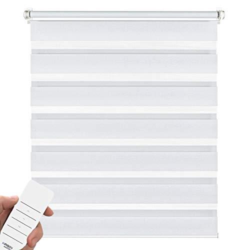 Kirsch Innovation Elektrisches Doppelrollo für Fenster, Klemmfix ohne Bohren, Rollo mit Akku, transparent lichtdurchlässig – 100x150 cm weiß – Duo Rollo Klemmträger
