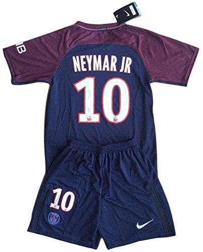 Neymar Jr #10 PSG 2017-2018 Youths Home Soccer Jersey & Socks Set (9-10 Years Old)