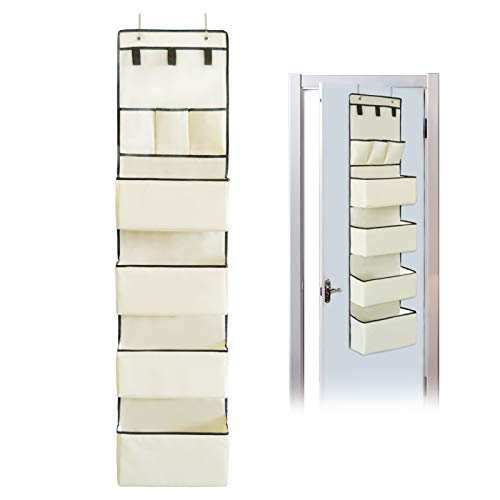 DonYeco Over The Door Hanging Wall Organizer Wall Mount Hanging Storage Organization 3 Hook Loops Closures and 7 Pockets Storage for Pantry Kitchen Bathroom Nursery Dorm Oxford Cloth Fabric Beige