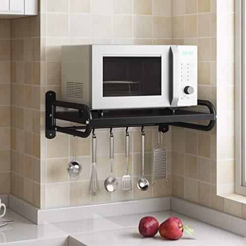 HHJJ Electric Oven Holders, Microwave Oven Rack Kitchen Shelf, Black Storage Racks Wall Shelf, Kitchen Pan Pot Rack Organizer Stainless Steel, Weight Bearing 66 lb (Size : 58cm)