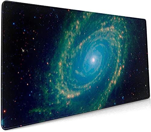 Green Galaxy Gaming Mouse Pad XL,Extended Large Mouse Mat Desk Pad, Stitched Edges Mousepad,Long Non-Slip Rubber Base Mice Pad,. X . in