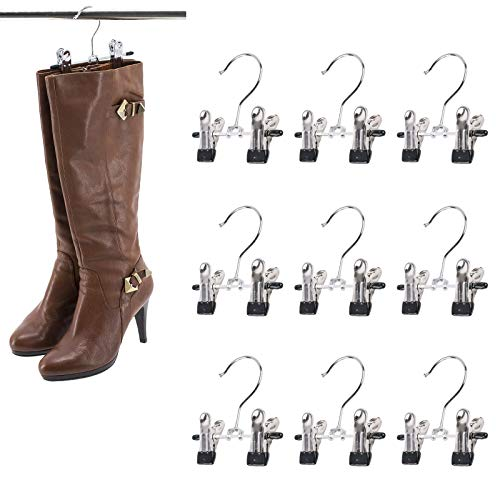 SUNTRADE Double Adjustable Clips Boots Hangers,Space Saving Boots Socks Bags Hanging Clips Boot Holder Boot Organizer,Set of 9 (9)