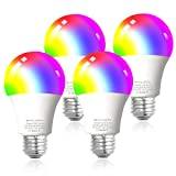 Smart WiFi Alexa Light Bulbs, SAUDIO LED RGB Color Changing Bulbs, Works with Alexa, Echo, Google Home & Siri, 2.4GHz WiFi Only, No Hub Required, 7W A19 E26 Multicolor 4 Pack