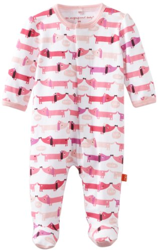 Magnificent Baby baby boys infant and toddler bodysuit footies, Pink Hot Dog, 3-6M 12-16 lb US