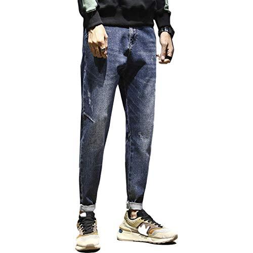 Beastle Pantalones Vaqueros para Hombre Pantalones Vaqueros Casuales Sueltos Rectos clásicos de Moda Pantalones de Mezclilla en Forma de Cono Rasgados con Personalidad de Moda 33W