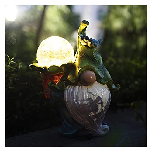 Luces solares jardín al aire libre resina jardín adornos decoración estatua impermeable barbudo largo navidad gnomo llevando bola de cristal con solar DIRIGIÓ Luces (Color : A)