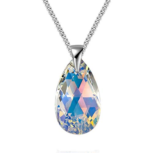 925 Sterling Silver Necklace For Women Made With Crystals from Swarovski Crystal Aurora Borealis Pendant Chain Necklace Jewelry Sets Gift (Aurore Boreale Crystals Necklace)